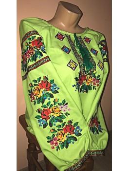Вишиванка жіноча жовта, машинна вишивка, хрестиком. Домоткане полотно, льон або габардин