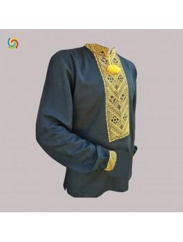 Вишиванка чоловіча чорна, машинна вишивка, хрестиком. Домоткане полотно або льон
