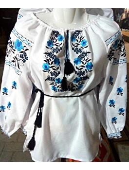Вишиванка жіноча біла, машинна вишивка, гладдю. Домоткане полотно, льон або габардин
