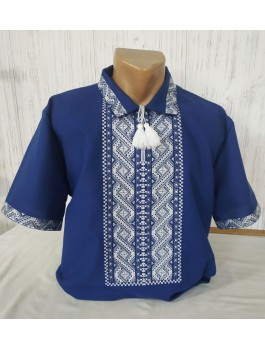 Вишиванка чоловіча темно-синя, машинна вишивка, гладдю. Домоткане полотно або льон