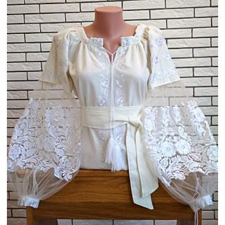 Вишиванка жіноча біла, машинна вишивка, гладдю. Євросітка + домоткане полотно, льон або габардин
