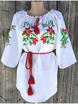 Вишиванка жіноча біла, машинна вышивка, гладдю. Шифон або габардин