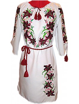 Сукня вишита жіноча, машинна вишивка, гладдю. Льон або габардин