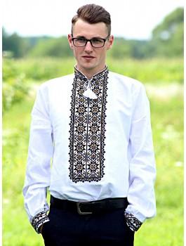 Вишиванка чоловіча біла, ручна робота. Домоткане полотно або льон