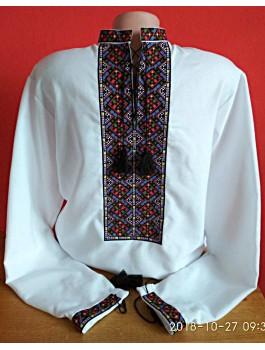 Вишиванка чоловіча, машинна вишивка, хрестиком. Домоткане полотно або льон