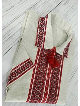 Вишиванка чоловіча, машинна ткана вишивка. Льон або домоткане полотно