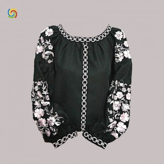 Вышиванка женская чёрная, машинная вышивка крестиком. Домотканое полотно, лён или габардин