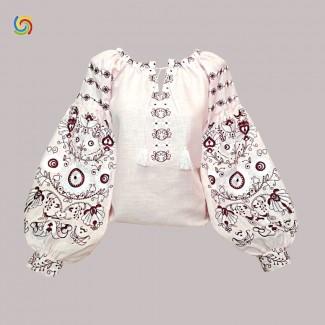 Вышиванка женская розовое, машинная вышивка крестиком. Домотканое полотно, лён или габардин