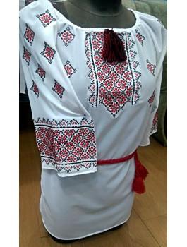 Вишиванка жіноча, машинна вишивка, хрестиком. Шифон, домоткане полотно або льон