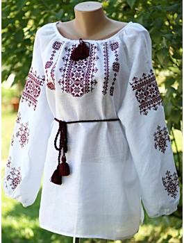 Вишиванка жіноча, машинна вишивка, хрестиком. Льон, домоткане полотно або шифон
