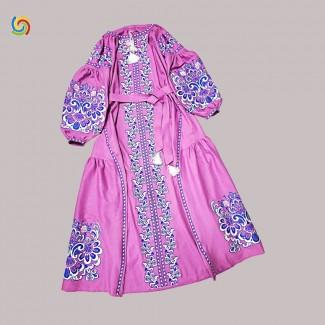 Вышитое платье бордовое, машинная вышивка крестиком. Домотканое полотно, лён или габардин