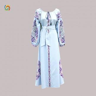 Вышитое платье, машинная вышивка крестиком. Домотканое полотно, лён или габардин