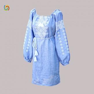 Вышитое платье, машинная вышивка крестиком. Джинс-лён или лён