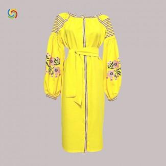 Вышитое платье желтое, машинная вышивка крестиком. Домотканое полотно, лён или габардин