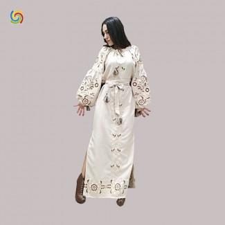 Вышитое платье, машинная вышивка гладью. Домотканое полотно или лён