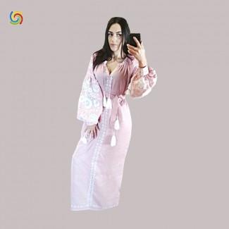 Вышитое платье розовое, машинная вышивка гладью. Домотканое полотно или лён