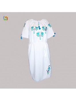 Платье вышитое женское, машинная вышивка гладью. Габардин