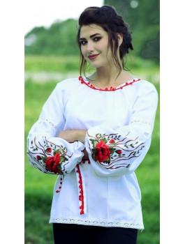 Вишиванка жіноча, машинна вишивка, гладдю. Домоткане полотно або льон