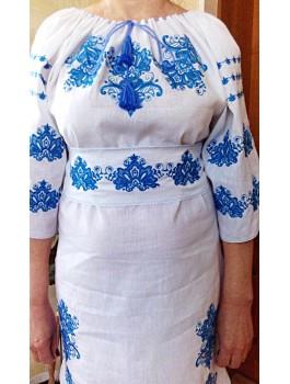 Сукня вишита, машинна вишивка, гладдю. Льон, габардин або домоткане полотно
