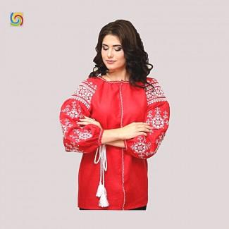 Вышиванка женская красная, машинная вышивка крестиком. Домотканое полотно, лён или габардин