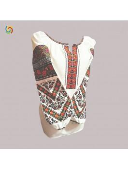 Вышиванка женская, машинная вышивка крестиком. Домотканое полотно или лён