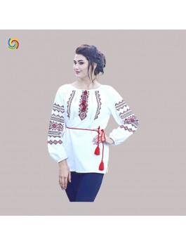 Вышиванка женская ручной вышивки, крестиком. Домотканое полотно, лён или шифон