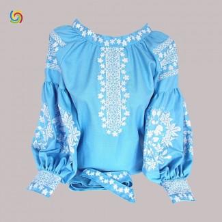 Вышиванка женская синяя, машинная вышивка крестиком. Домотканое полотно, лён или габардин