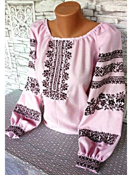 Вишиванка жіноча рожева, машинна вишивка, хрестиком. Домоткане полотно, льон або габардин