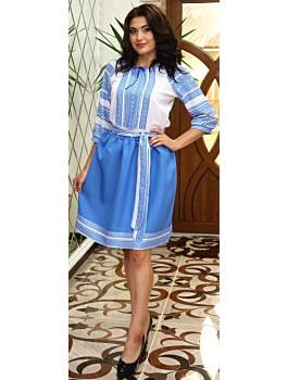 Вишитий жіночий костюм - блузка, пояс, юбка. Машинна вишивка. Габардин або поплін