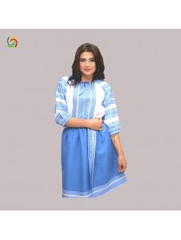 Вышитый женский костюм - блузка, пояс, юбка. Машинная вышивка. Габардин или поплин