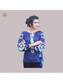 Вышиванка женская, машинная вышивка крестиком. Домотканое полотно, лён или габардин
