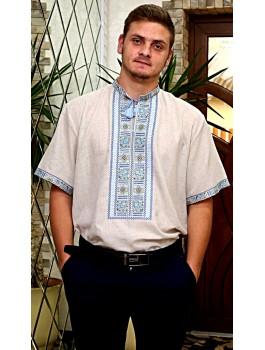 Вишиванка чоловіча сіра, машинна вишивка, хрестиком. Домоткане полотно або льон