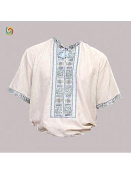 Вышиванка мужская, машинная вышивка крестиком. Домотканое полотно или лён