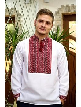 Вишиванка чоловіча біла, машинна ткана вишивка. Льон або домоткане полотно