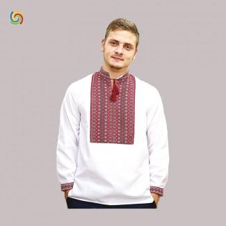 Вышиванка мужская, машинная тканая вышивка. Лён или домотканое полотно