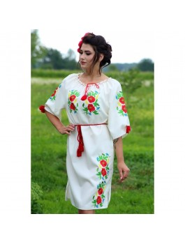 Сукня вишита біла, машинна вишивка, гладдю. Габардин, домоткане полотно або льон