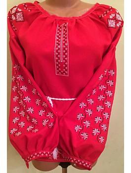 Вишиванка жіноча малинова, машинна вишивка, хрестиком. Габардин, домоткане полотно або льон
