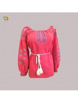 Вишиванка жіноча червона, машинна вишивка, хрестиком. Домоткане полотно, льон або габардин