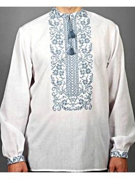 Вишиванка чоловіча біла, машинна вишивка, гладдю. Домоткане полотно або льон