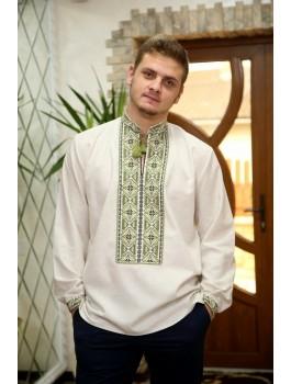Вишиванка чоловіча біла або сіра, машинна вишивка хрестиком. Домоткане полотно або льон