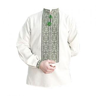 Вышиванка мужская, машинная вышивка крестиком. Домотканое полотно или лен