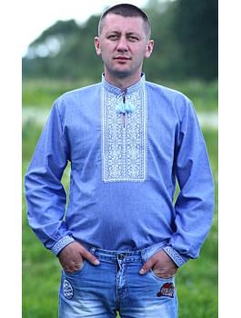 Вишиванка чоловіча синя, машинна вишивка, хрестиком. Джинс-льон або домоткане полотно