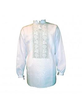 Мужская вышиванка ручной работы, белым по белому. Домотканое полотно