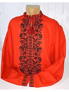 Вишиванка чоловіча червона, машинна вишивка хрестиком. Домоткане полотно або льон