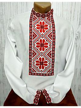 Вишиванка чоловіча біла, машинна вишивка хрестиком. Льон або домоткане полотно