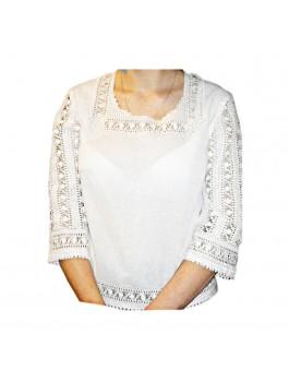 Вышиванка женская, ручной работы, белым по белому. Домотканое полотно с лавсаном