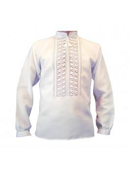 Вышиванка мужская ручной работы, белым по белому. Домотканое полотно с лавсаном