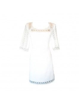 Вышитое платье женское свадебное, ручной вышивки, белым по белому. Домотканое полотно с лавсаном