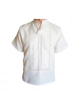 Вышиванка мужская ручной работы, белым по белому. Домотканое полотно или домотканое полотно с лавсаном