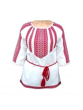 Вышиванка женская, машинная тканая вышивка + кружево. Домотканое полотно или лен